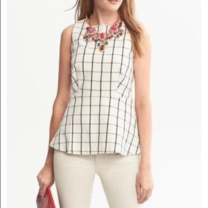 Banana Republic Windowpane Peplum Top